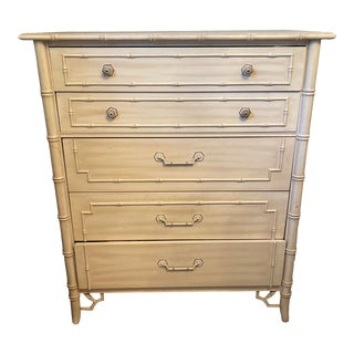 1960s Thomasville Almond Bamboo Style Dresser For Sale