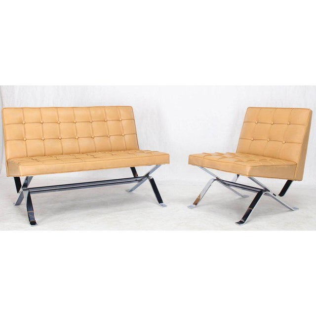 Mid 20th Century Mid-Century Modern Tufted Upholstery Chrome Base Settee Loveseat and Chair Set - 2 Pieces For Sale - Image 5 of 11