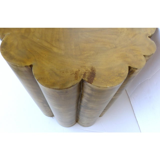 Scalloped Brass Finish Side Tables - a Pair - Image 6 of 11