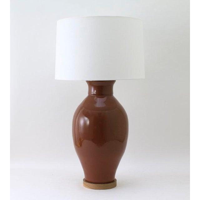 """Paul Schneider Ceramic """"Matagorda"""" Lamp in Glossy Cocoa Glaze For Sale In Dallas - Image 6 of 6"""