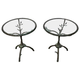 Pair of Giacometti Style Side Tables For Sale