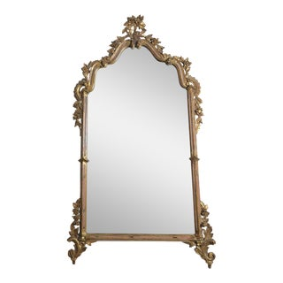 Italian Giltwood Carved Floral Mirror C. 1930's For Sale