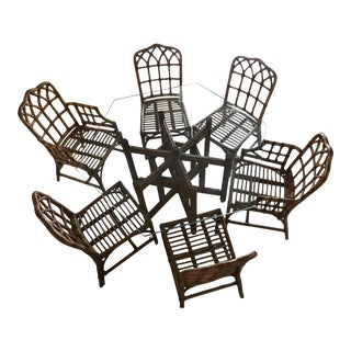 Gothic Chippendale Bamboo Dining Set
