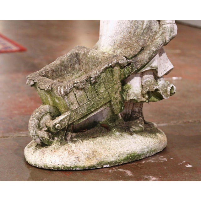 Late 19th Century 19th Century French Weathered Cast Concrete Garden Girl & Wheelbarrow Sculpture For Sale - Image 5 of 12