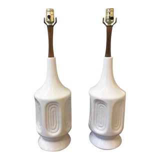 Vintage White Ceramic and Teak Lamps - a Pair For Sale