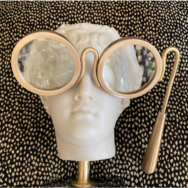 Lorgnette Style Magnifying Glasses in Antique Brass For Sale - Image 4 of 6