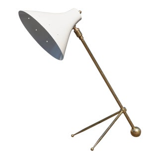 French Adjustable Brass Tripod Table Lamp in the Manner of Jean Boris Lacroix For Sale