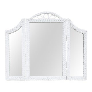 Vintage Tri-Fold White Wicker Mirror For Sale