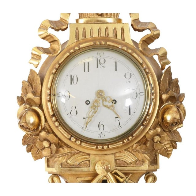 Gustavian (Swedish) Antique Gustavian Swedish Gold Birch Wall Clock For Sale - Image 3 of 6