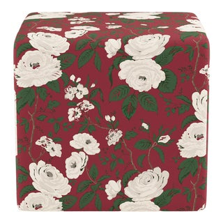 Cube Ottoman in Cranberry Chintz For Sale