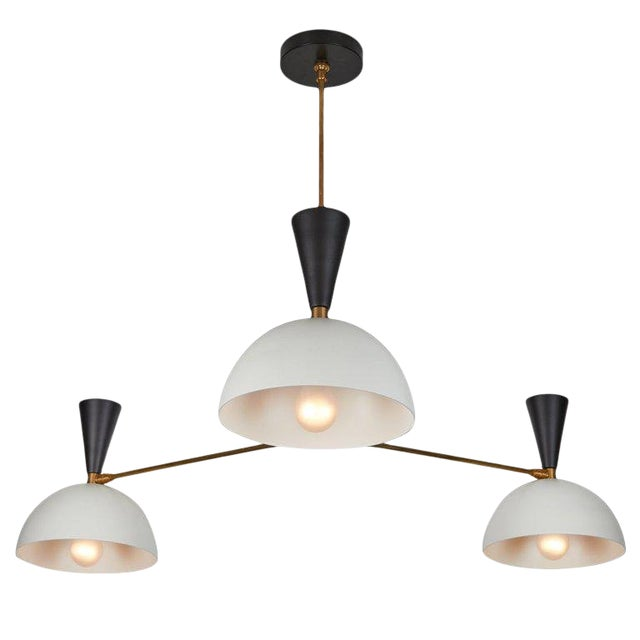 Large Three-Cone 'Lola Ii' Black and White Chandelier For Sale