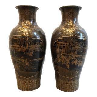 Asian Chinese Black and Gilt Lacquer Decorated over Metal Vases- A Pair For Sale