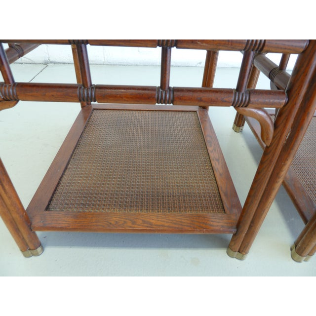 Vintage Faux Bamboo & Cane Regency Side Tables - a Pair For Sale - Image 11 of 12