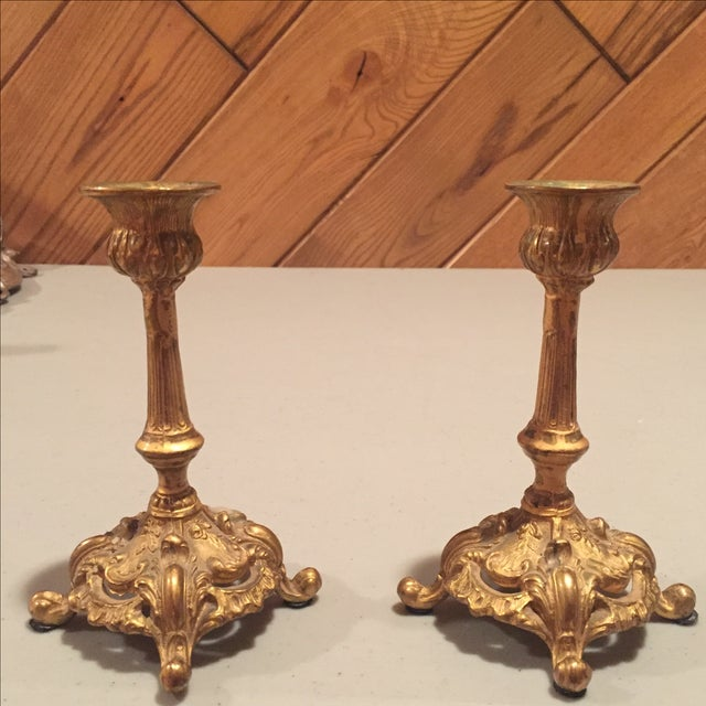 Antique Bronze Finish Candlesticks - Pair - Image 2 of 7