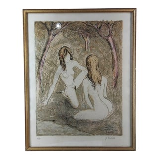 1950s Vintage Nude Women Lithograph Print For Sale