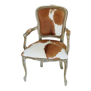 Vintage Carved Armchair W/ Brown & White Hair-on-Hide Cowhide
