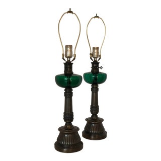 Early 20th Century Antique Oil Lamps With Emerald Green Fonts - a Pair For Sale