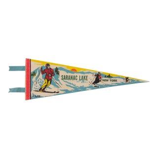 Vintage Saranac Lake New York Pennant For Sale