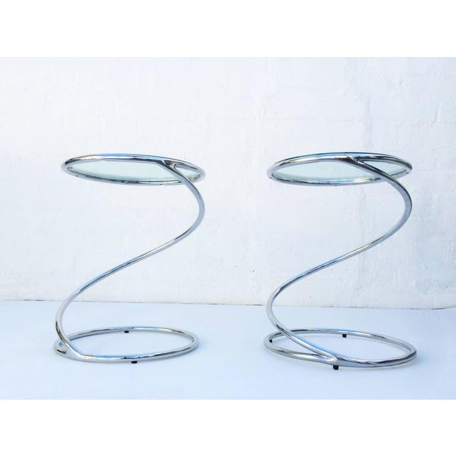 Polished Chrome and Glass Spiral Occasional Tables by Leon Rosen for Pace - Image 4 of 7