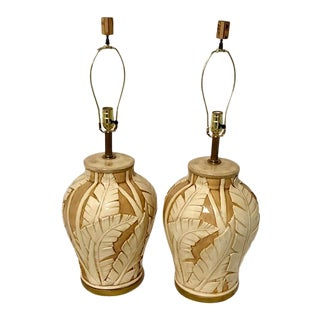 Large Banana Leaf Ceramic Table Lamps - a Pair For Sale