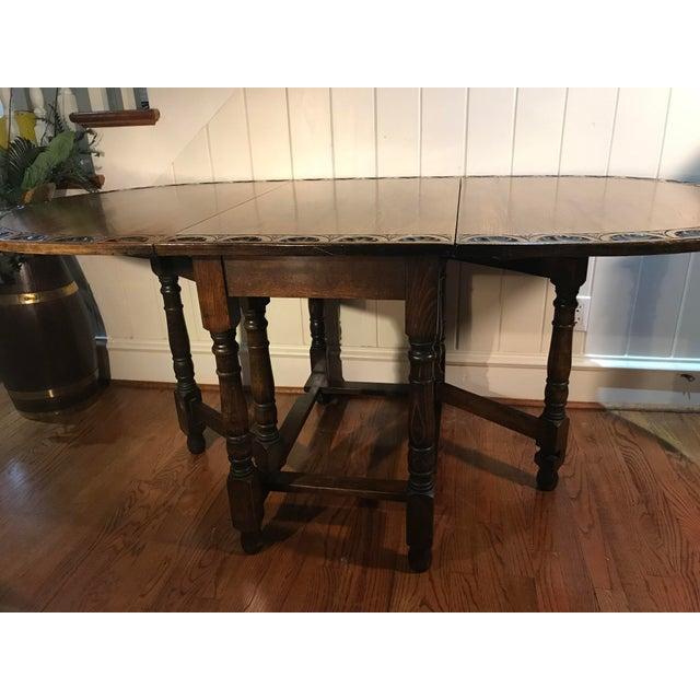 Vintage Carved Top Drop Leaf Table For Sale - Image 11 of 13
