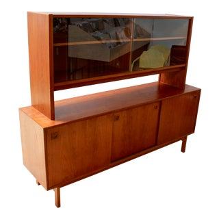 1960s Danish Modern Teak Two-Piece Hutch For Sale