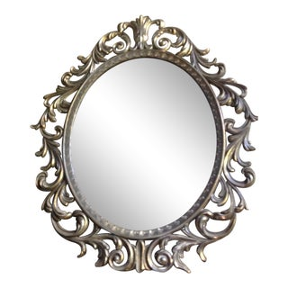 1960's Metal Ornate French Style Mirror For Sale