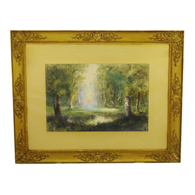 Antique Charles Day Hunt Framed & Signed Landscape Watercolor Painting - Image 1 of 10