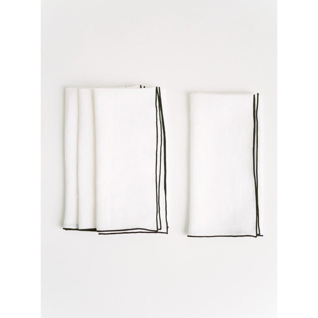 Modern White with Black Trim Linen Napkin - Set of 6 For Sale - Image 3 of 4