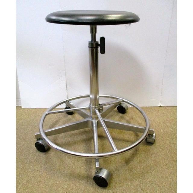 Industrial Adjustable Metal Rolling Stools - Set of 3 - Image 3 of 4