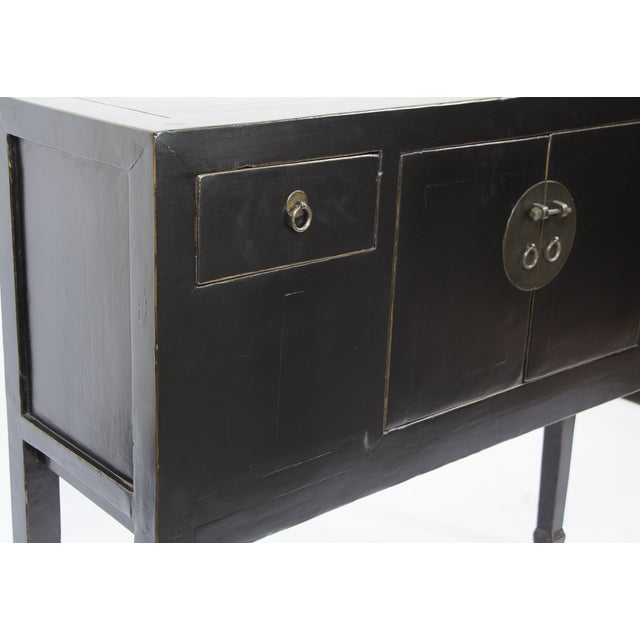 Asian Antique Black Tall Shangdon Sideboard For Sale - Image 3 of 4