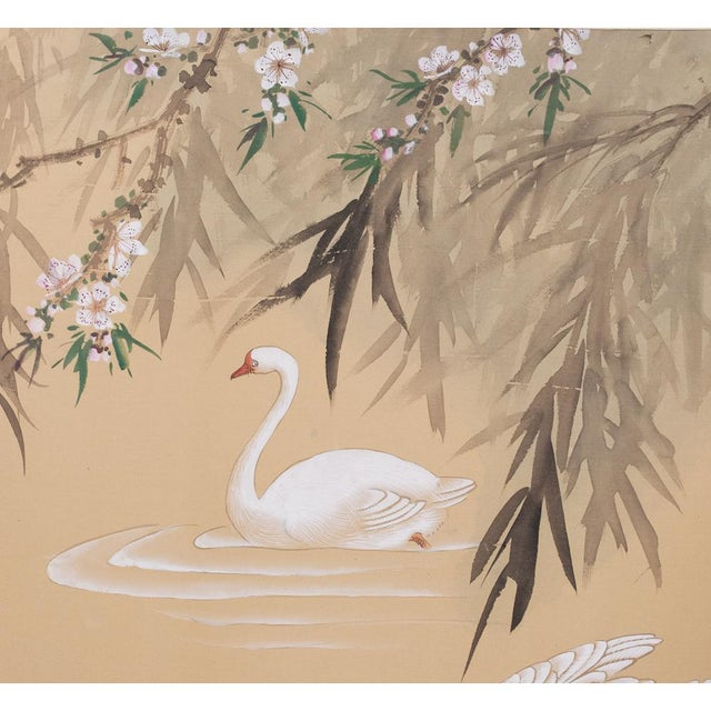 Gouache C. 1940s Chinoiserie Swan Screen For Sale - Image 7 of 13
