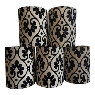 Black & Winter White Fabric Chandelier Shades - Set of 5