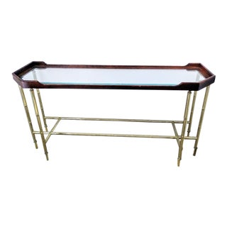 Palm Beach Regency Wood and Metal Faux Bamboo Console Sofa Table For Sale