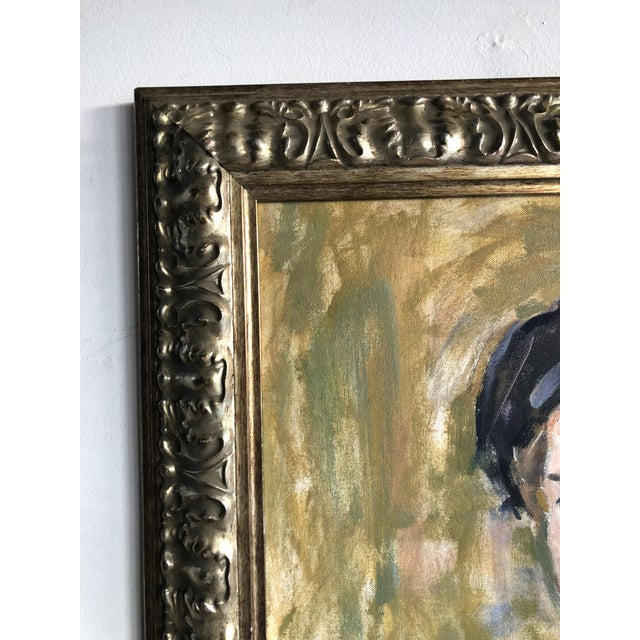 Blue Vintage Oil Portrait of a Man on Canvas, Framed For Sale - Image 8 of 10