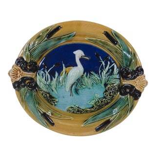 19th Century French Majolica Heron Wall Platter