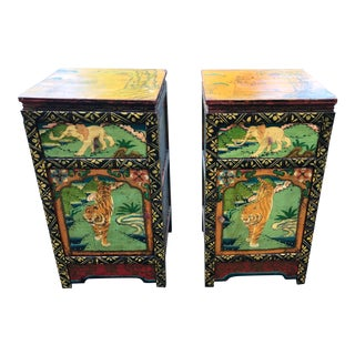 Antique Chinoiserie Boho Chic Bengal Tiger, Foo Dog Hand-Painted End Tables or Night Stands- a Pair For Sale