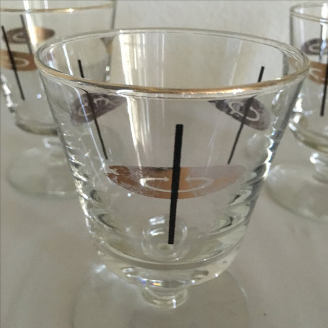 Vintage Atomic Footed Glasses - Set of 5 - Image 4 of 5