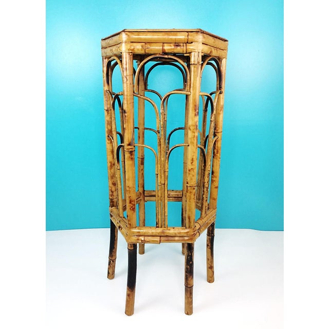 Vintage Burnt Tortoise Hexagon Bamboo Plant Stand For Sale - Image 6 of 7