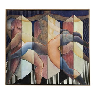 George Dergalis 1993 Painting on Linen of Three Nude Woman For Sale
