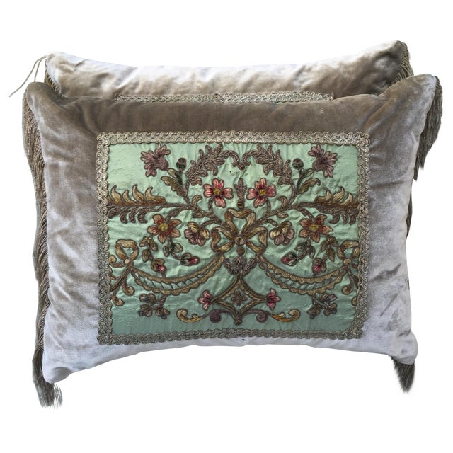 Metallic & Chenille Embroidered Pillows - Pair - Image 1 of 5