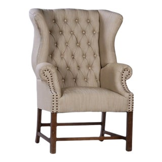 Tufted Beige Wingback Chair For Sale