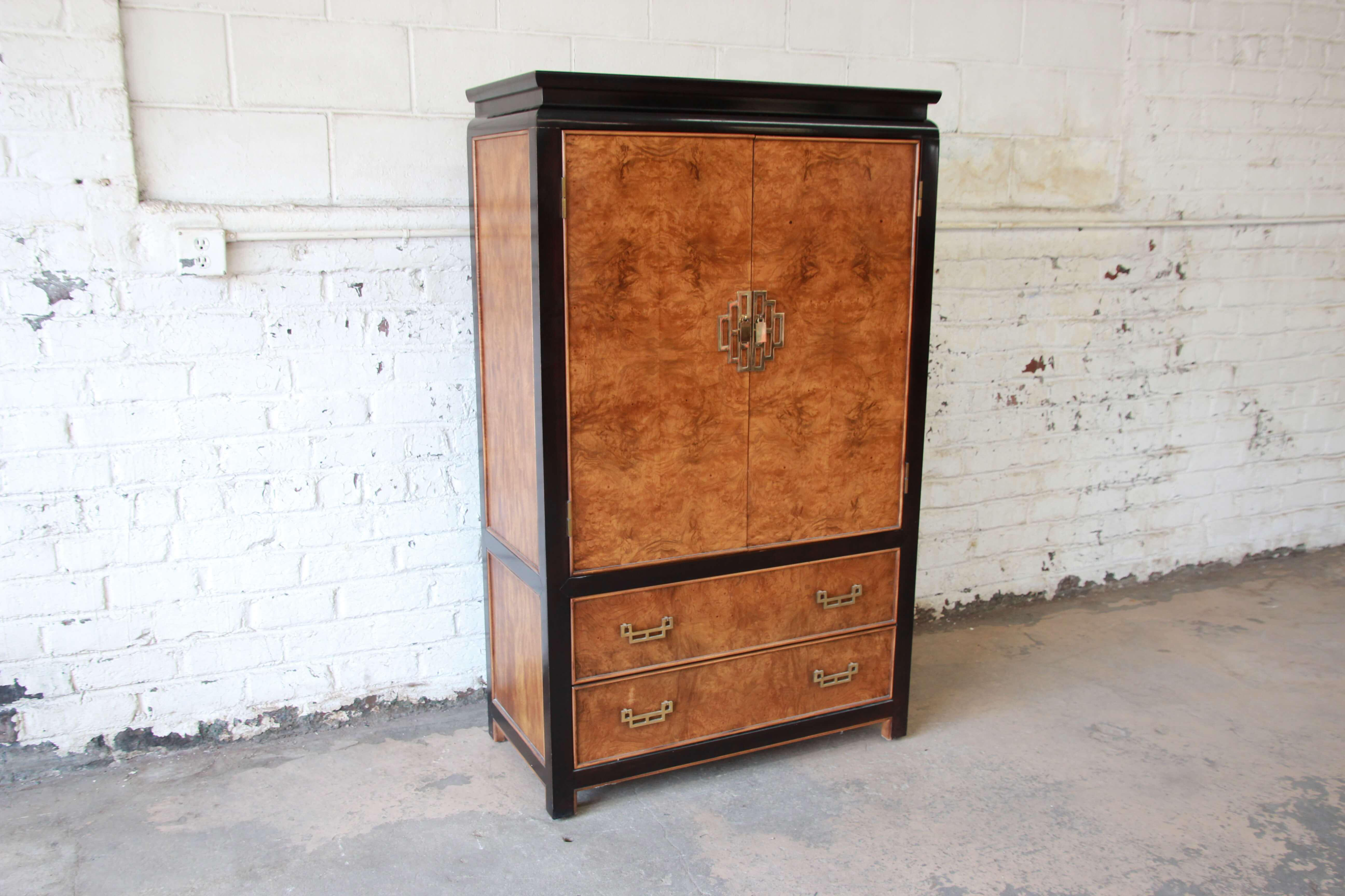 Asian Century Furniture Burlwood And Black Lacquer Chin Hua Chinoiserie  Gentlemanu0027s Chest For Sale   Image