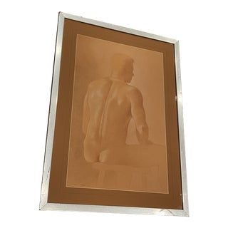 1989 Figurative Male Study Drawing by Steven Meikle, Paper on Wood, Framed For Sale
