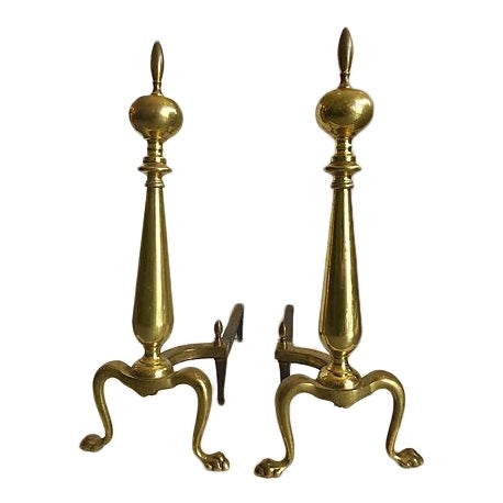 1960's Brass Andirons - A Pair - Image 1 of 6