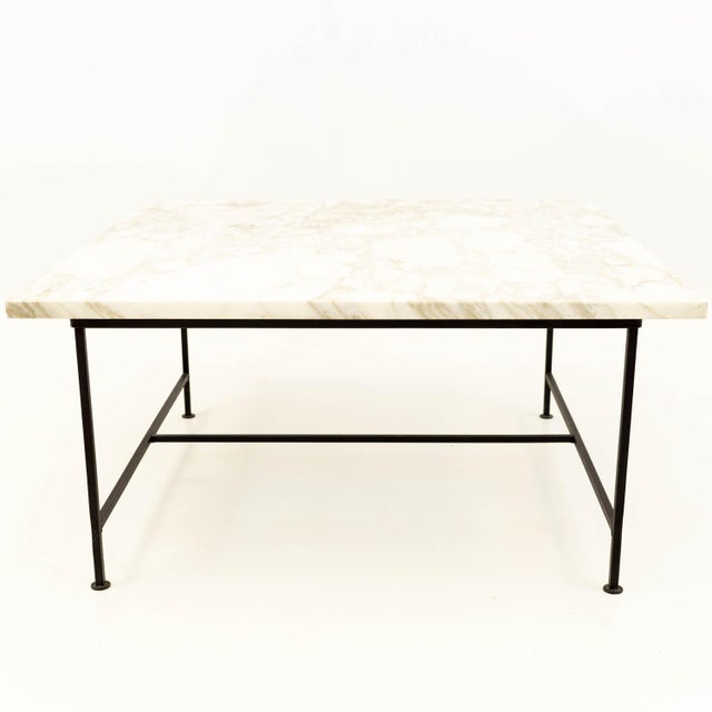 Paul McCobb Style Mid Century Marble and Iron Square Coffee Table When you purchase a piece we carefully clean and prepare...