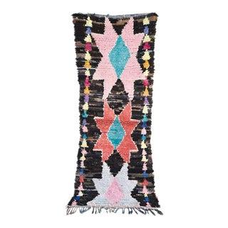 1970s Vintage Boucherouite Moroccan Wool Rug - 3′4″ × 8′2″ For Sale