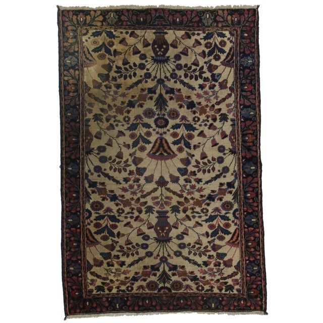 RugsinDallas Hand-Knotted Persian Mashad Rug - 4′2″ × 6′4″ For Sale