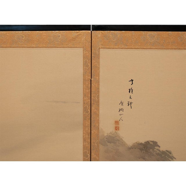C. 1920-1940s Japanese Four Landscapes Byobu Screen For Sale - Image 9 of 13