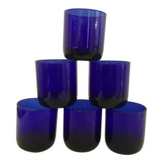 Vintage Cobalt Blue Glasses- Set of 6 For Sale